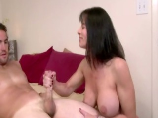 breasty older milf cook jerking and tit fucking