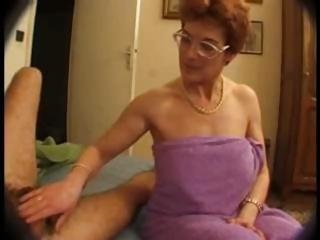 curly mature in glasses takes on two jocks and