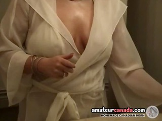 overweight wife in white lingerie uses big toys