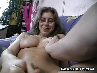 hairy amateur wife toys and rides a penis with