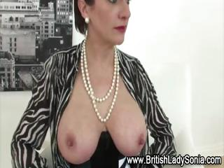 stockings older lady sonia in hot lingerie