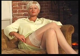 aged in nylons with grey twat hair spreads and